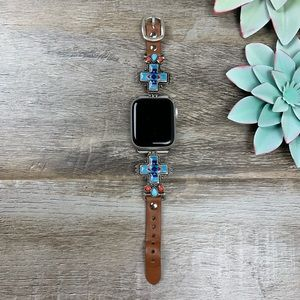 Accessories - Shine On Leather Apple Watch Band - Blue